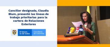 Am 14. November stellte Blum in der kolumbianischen Botschaft in Washington die Außenpolitik ihrer Regierung vor und betonte die Anerkennung Guaidós als rechtmäßigem Präsidenten von Venezuela