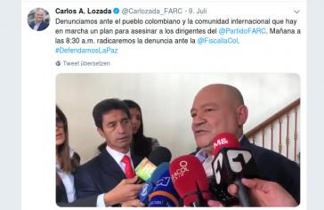 Farc-Senator Lozada fordert Ermittlungen zu Attentatsplanungen gegen ehemalige Guerilleros (Screenshot)