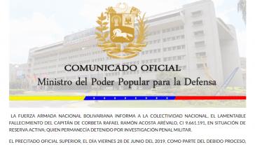 Führung der Streitkräfte setzt sich für Aufklärung der Umstände des Todes von Oberstleutnant Rafael Acosta in Militärhaft ein