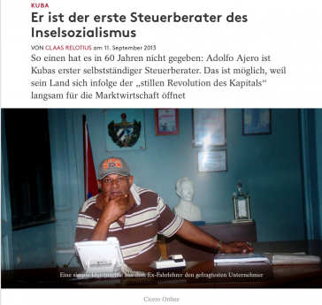 """Bericht über angeblichen Steuerberater in Kuba, erschienen im """"Cicero"""" im September 2013. Das Magazin hat den Text inzwischen offline genommen"""