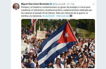 Der Tweet von Kubas Präsident Díaz Canel zum Statement des USA-Außenministeriums