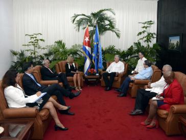 Präsident Díaz-Canel mit Federica Mogherini