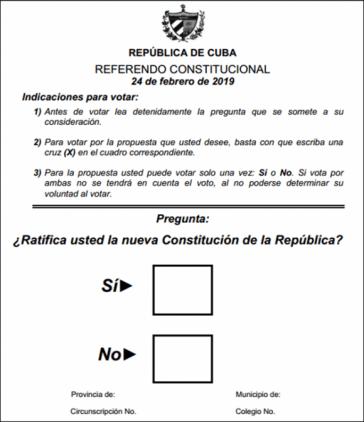 Abstimmungszettel für das Verfassungsreferendum in Kuba