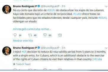 Tweets von Kubas Außenminister Rodríguez