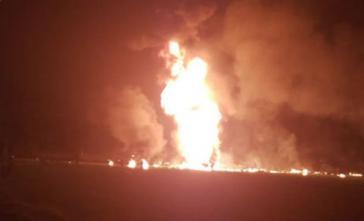Die explodierte Pipeline im Bundesstaat Hidalgo, Mexiko