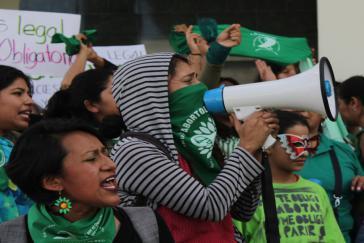 Vor dem Parlamentsgebäude hatten sich zahlreiche Verteidigerinnen der Legalisierung versammelt