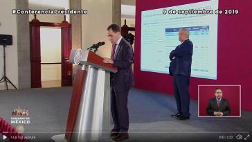 Mexikos Finanzminister Arturo Herrera stellte den Wirtschaftsplan bei einer Pressekonferenz des Präsidenten vor (Screenshot)