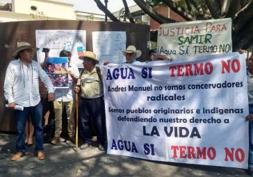 Die Proteste am Wochenende gegen das Elektrizitäts-Kraftwerk Huexca waren verbunden mit der Forderung nach Gerechtigkeit für den vergangene Woche ermordeten Aktivisten Samir Flores