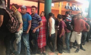 Migranten aus Zentralamerika in Tenosique, Tabasco, Méxiko