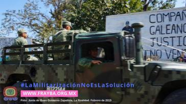 """Militärs im zapatistischen Caracol """"La Realidad"""", Februar 2019"""