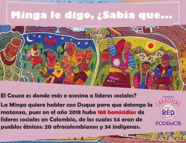 Dieses Plakat erklärt: Die Minga will mit Duque verhandeln, denn alleine 2018 wurden 168 Aktivisten ermordet, davon 20 Afrokolumbianer und 34 Indigene, die Mehrheit im Cauca