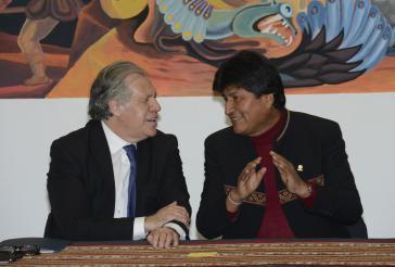 OAS-Generalsekretär Luis Almagro (links) und Boliviens Präsident Evo Morales im Mai in La Paz