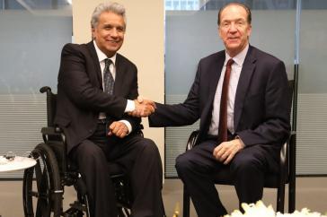 Der ecuadorianische Präsident Lenín Moreno hat vom neuen Weltbank-Chef David Malpass Zusagen über weitere Kredite für sein Land bekommen