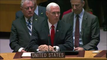 Der Vize-Präsident der USA, Mike Pence, hat vor dem UN-Sicherheitsrat am Mittwoch Drohungen gegen Venezuela erneuert