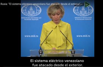 Die Sprecherin des russischen Außenministeriums, María Zajárova, verlas bei der Pressekonferenz am Freitag eine Stellungnahme zum Stromausfall in Venezuela (Screenshot)