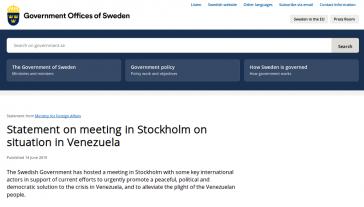 Statement des schwedischen Außenministeriums zu den internationalen Venezuela-Gesprächen