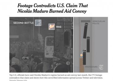 Das Video der New York Times zeigt den Moment, in dem ein Molotow-Cocktail den LKW in Brand setzt