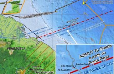 Das Informationsministerium von Venezuela dokumentiert Schiffspositionen und Grenzverläufe