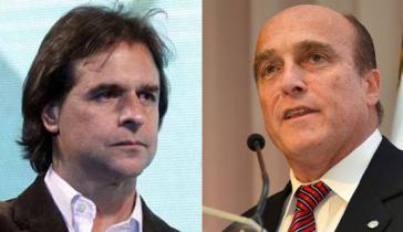 Kein Durchmarsch: Mit knappem Vorsprung konnte sich der Präsidentschaftskandidat Lacalle Pou von der rechten Nationalpartei (links) gegen Daniel Martínez von der Frente Amplio durchsetzen