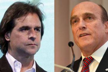 Die Präsidentschaftskandidaten Lacalle Pou von der rechten Nationalpartei (links) und Martínez von der Frente Amplio versuchen bereits vor der Stichwahl, mögliche Koalitionen zu schmieden