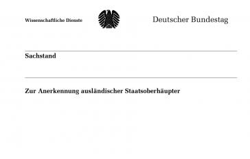 Titel des Gutachtens des Wissenschaftlichen Dienstes des Bundestags zu Venezuela