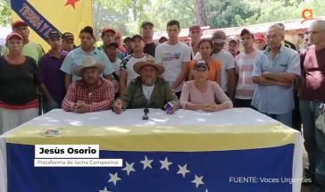 Jesús Osorio, ein Sprecher der Plataforma de Lucha Campesina, kritisierte in einem Video die Polizeiaktion scharf (Screenshot)