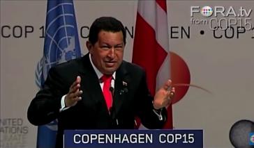 Venezuelas Präsident Hugo Chávez bei seiner Ansprache in Kopenhagen (Screenshot)