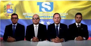 """Sehen sich als Teil einer alternativen Regierung: Mitglieder des selbst ernannten """"Legitimen Obersten Gerichtshofes"""" von Venezuela, bestehend aus ehemaligen Richtern, die im Exil leben"""