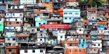 """Kampagnenbild des chavistischen Menschenrechtskollektivs Surgentes: """"Keine Exekutionen mehr im Barrio"""", """"Nicht in Chávez' Namen"""""""