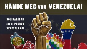 Dieses Plakat fordert Souveränität für Venezuela