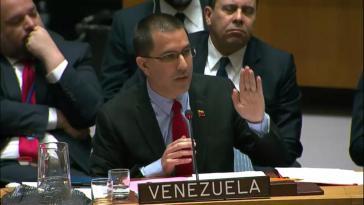 Botschafter von Venezuela, Jorge Arreaza, vor dem UN-Sicherheitsrat