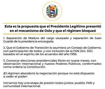 """Guaido twitterte seine """"Vorschläge"""" nach Bekanntwerden des Abkommens zwischen Regierung und Oppositionsvertretern"""