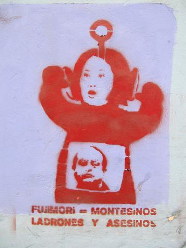 Graffito gegen Keiko Fujimori in Peru: Vladimiro Montesinos war Geheimdienstchef unter Vater Alberto Fujimori