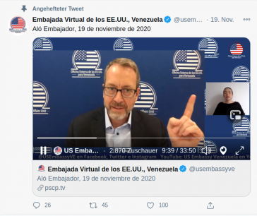 """James Story wendet sich regelmäßig aus seiner """"virtuellen Botschaft"""" über Twitter an die Bevölkerung in Venezuela"""