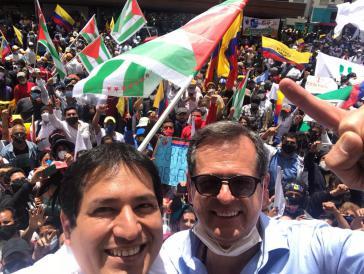 Links, der Präsidentschaftskandidat der Unes, Andrés Arauz; rechts sein möglicher Vize, Carlos Rabascall