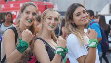 Demonstrierende Frauen in Buenos Aires in dieser Woche