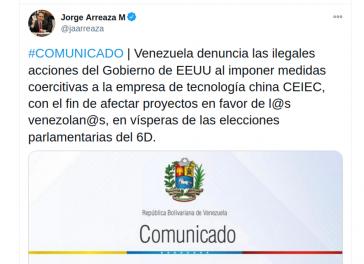Die Regierungen von Venezuela und China protestieren gegen die Sanktionierung legitimer Geschäftsbeziehungen durch die USA