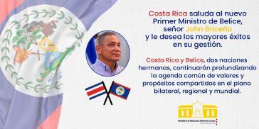 Costa Rica gratuliert dem neuen Premierminister von Belize, Johnny Briceño.