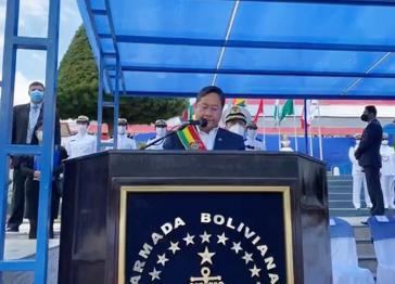 Boliviens Präsident Luis Arce mahnte bei seiner Ansprache die Streitkräfte, sich an die Verfassung zu halten