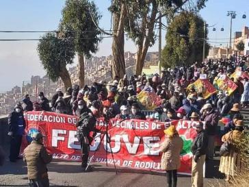 Demonstationszug von El Alto ins Zentrum von La Paz am 14. Juli