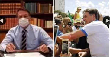 Erst rief Bolsonaro im TV zu Vorsichtsmaßnahmen auf. Anschließend nahm er ein Bad unter Anhängern