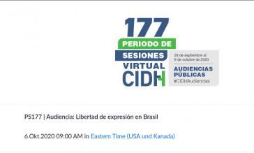 Bei der virtuellen Sitzung der CIDH am 6. Oktober standen Verletzungen im Bereich Informationsrecht in Brasilien auf der Tagesordnung