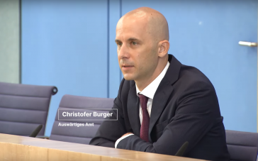 Der Sprecher für das Auswärtige Amt, Christofer Burger, auf der Bundespressekonferenz