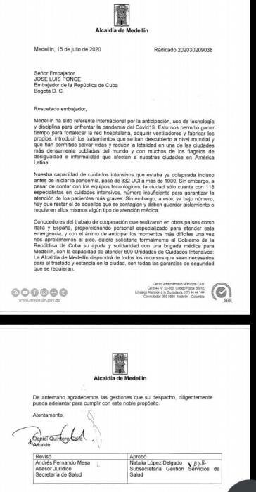 Brief des Bürgermeistern von Medellín an die Botschaft von Kuba in Kolumbien