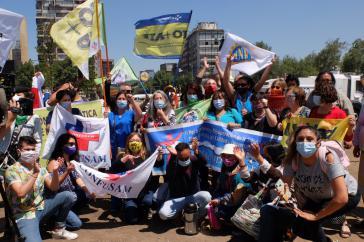 Vertreter:innen der Unidad Social am 26. Oktober in Santiago de Chile