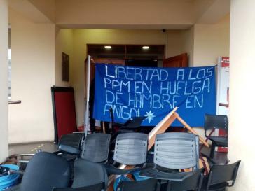 Am 27. Juli besetzten Unterstützer der Hungerstreikenden mehrere Sitze von Gemeindeverwaltungen in Südchile, hier in Curacautín