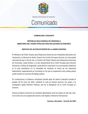 Das gemeinsame Kommuniqué des Außenministeriums von Venezuela und dem Europäischen Auswärtigen Dienst