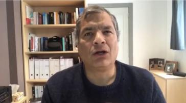 Rafael Correa am Tag der Bestätigung seiner achtjährigen Haftstrafe