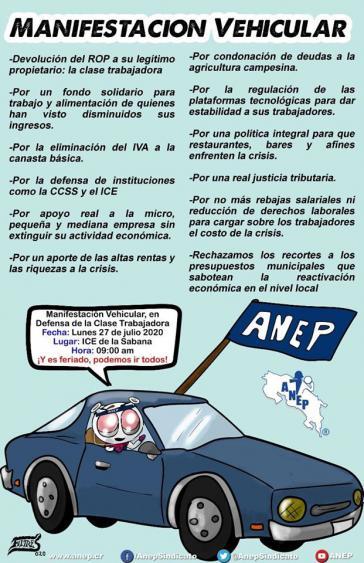 Aufruf des Gewerkschaftsverbandes Anep zum Autokorso gegen die Sparpolitik der Regierung am 27. Juli