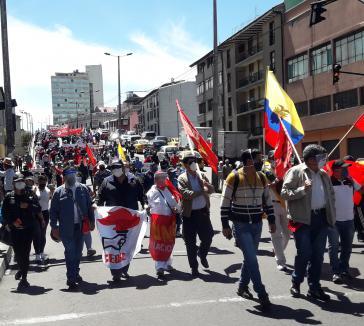 Gewerkschafter protestieren gegen die Maßnahmen der Regierung in Quito, Ecuador